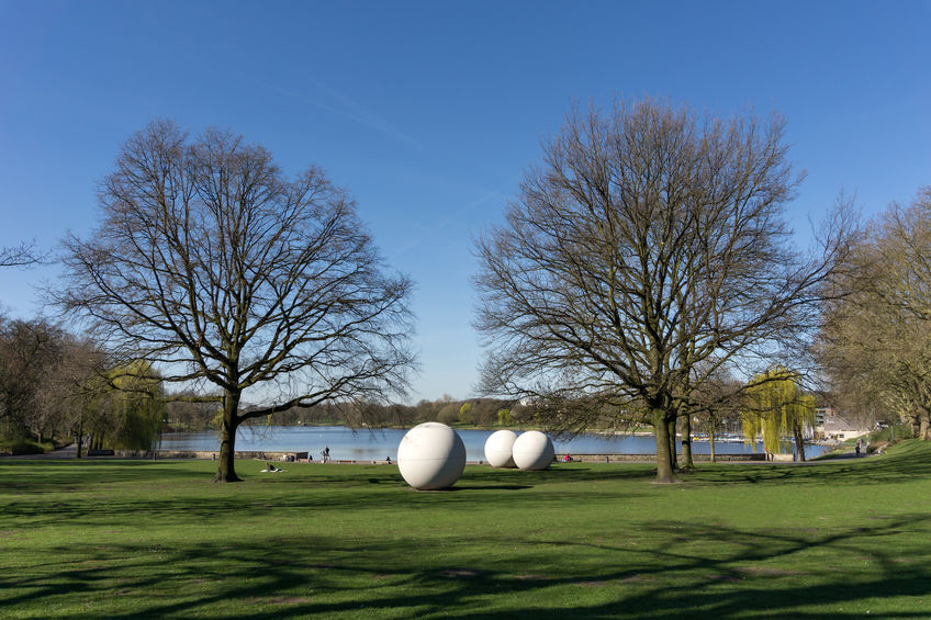 Meadow with concrete balls in Münster, North Rhine-Westphalia (NRW)